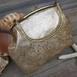Vintage 1950s vinyl and Lucite Cream Gold handbag